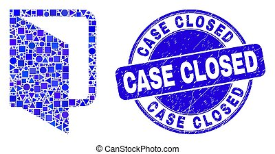 Blue Scratched Case Closed Stamp and Open Folder Mosaic