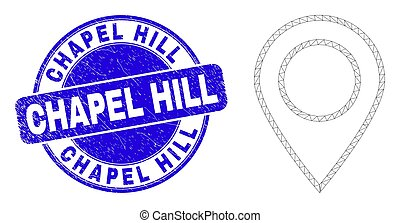 Blue Scratched Chapel Hill Stamp Seal and Web Mesh Map Marker
