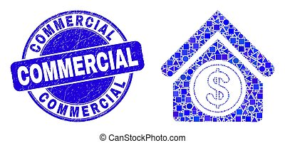 Blue Scratched Commercial Stamp Seal and Commercial Building Mosaic