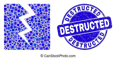 Blue Scratched Destructed Stamp Seal and Destruct Mosaic - ...