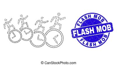 Blue Scratched Flash Mob Seal and Web Mesh People Run Over Clocks