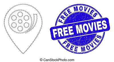 Blue Scratched Free Movies Stamp and Web Carcass Movie Map ...