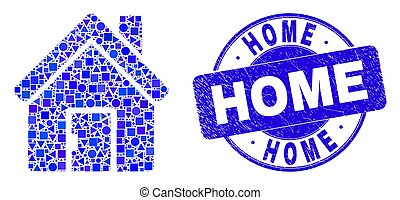 Blue Scratched Home Seal and Home Mosaic