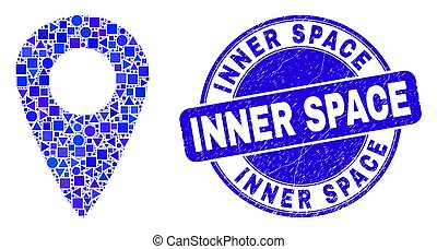 Blue Scratched Inner Space Stamp Seal and Map Pointer Mosaic