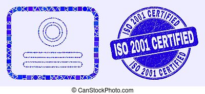Blue Scratched ISO 2001 Certified Stamp and Certificate Mosaic