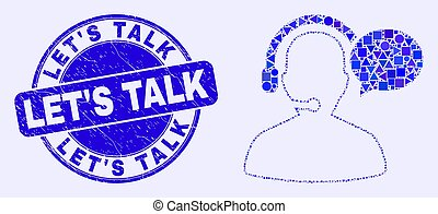 Blue Scratched Let'S Talk Stamp Seal and Operator Message Mosaic