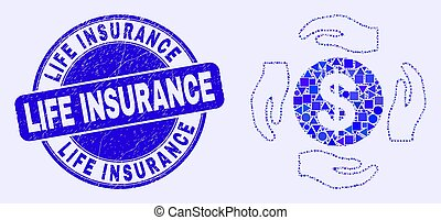 Blue Scratched Life Insurance Stamp and Dollar Care Hands Mosaic