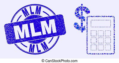 Blue Scratched Mlm Seal and Financial Calculator Mosaic - ...