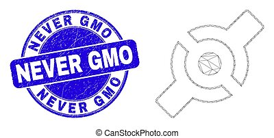 Blue Scratched Never GMO Stamp Seal and Web Mesh Artificial ...