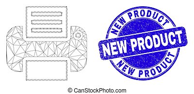 Blue Scratched New Product Stamp and Web Carcass Printer