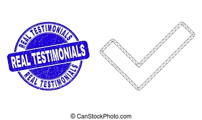Blue Scratched Real Testimonials Stamp and Web Carcass Validated Tick
