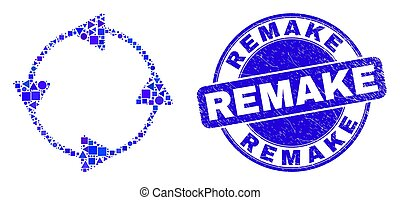 Geometric CCW circulation arrows mosaic pictogram and Remake seal stamp. Blue vector round textured stamp with Remake caption. Abstract composition of CCW circulation arrows made of round, tringle,
