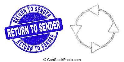Web mesh CCW circulation arrows pictogram and Return to Sender seal. Blue vector round textured seal stamp with Return to Sender message.
