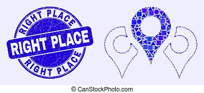 Blue Scratched Right Place Stamp and Map Markers Mosaic - ...