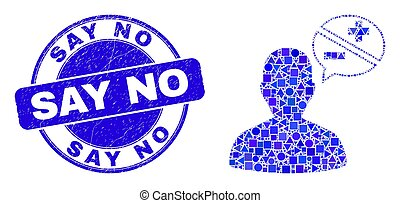 Blue Scratched Say No Stamp Seal and Person Arguments Mosaic