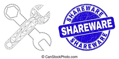 Blue Scratched Shareware Stamp Seal and Web Mesh Wrenches - ...