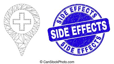 Blue Scratched Side Effects Seal and Web Mesh Medical Map Marker