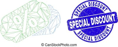 Blue Scratched Special Discount Stamp Seal and Web Mesh Percent Tags