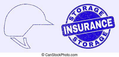 Blue Scratched Storage Insurance Stamp Seal and Motorcycle Helmet Mosaic