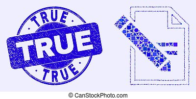 Blue Scratched True Stamp Seal and Edit Text Page Mosaic
