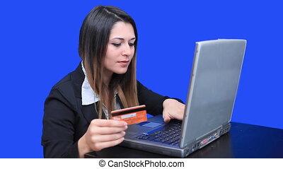 blue screen beautiful business woman girl laptop online marketing credit card
