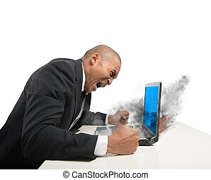 Blue screen computer error - Concept of stress with blue...