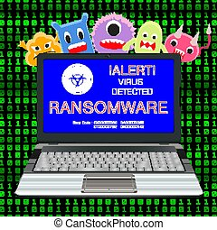 blue screen laptop infected ransomware virus with virus cartoon