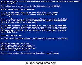 Blue screen of death (BSOD). System crash error. Vector Illustration