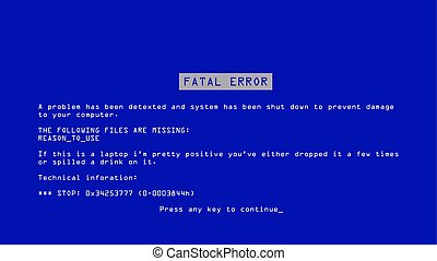 Blue Screen Of Death Vector. BSOD. Fatal Driver, Critical Memory Computer 404 Error. Incompatible Device. Illustration