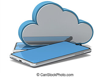 Blue screen smart phone with cloud icon
