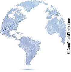 blue Scribble world globe map