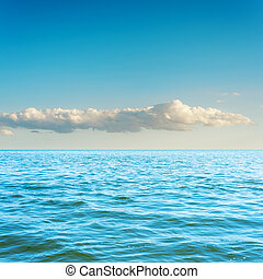 blue sea and cloud in sky