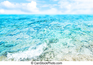 Blue  sea and cloudy sky - Abstract Summer Background