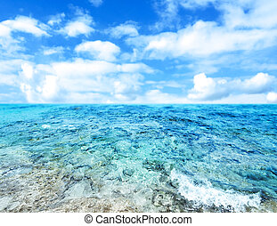 Blue  sea and cloudy sky - Abstract Summer Background-
