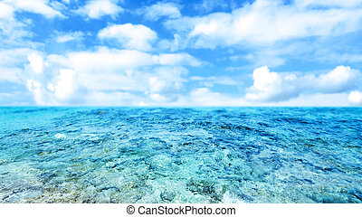 Blue  sea and cloudy sky - Abstract Summer Background with cloudy sky for your design