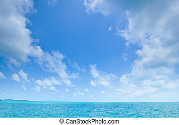 blue sea and cloudy sky