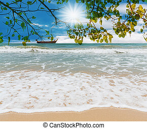 Blue sea and green leaf with white sand beach