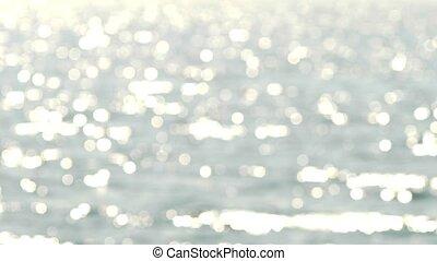 Blue sea and sky horizon, telephoto lens, 4k, blur, sunlight...