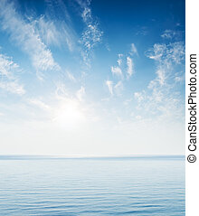 blue sea and sky in sunset