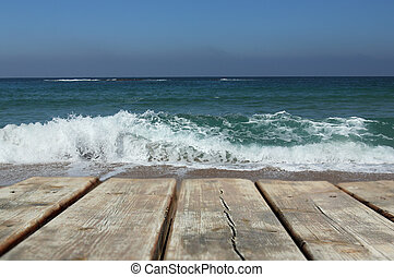 blue sea and sky with wooden floor background