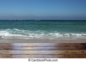 blue sea and sky with wooden floor