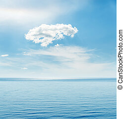 blue sea and white clouds