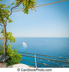Blue sea in Positano coast on a sunny day
