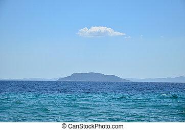 Blue sea, Island and Cloud