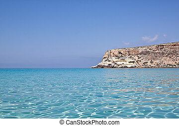 Blue sea of Lampedusa, Sicily.