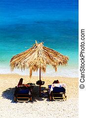 Blue sea parasol