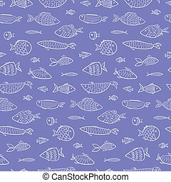 Blue sea pattern with white outline fishes