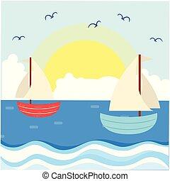 Blue Sea Sailboat Sunset Background Vector Image