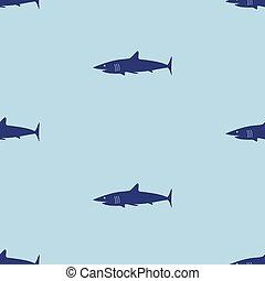blue sea shark fish seamless pattern eps10