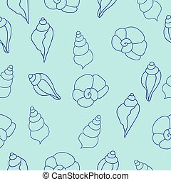 Blue sea shells vector seamless pattern